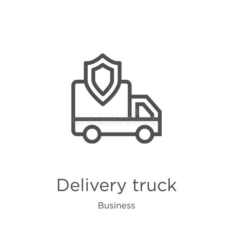 het pictogramvector van de leveringsvrachtwagen van bedrijfsinzameling Dunne van het de vrachtwagenoverzicht van de lijnlevering  vector illustratie