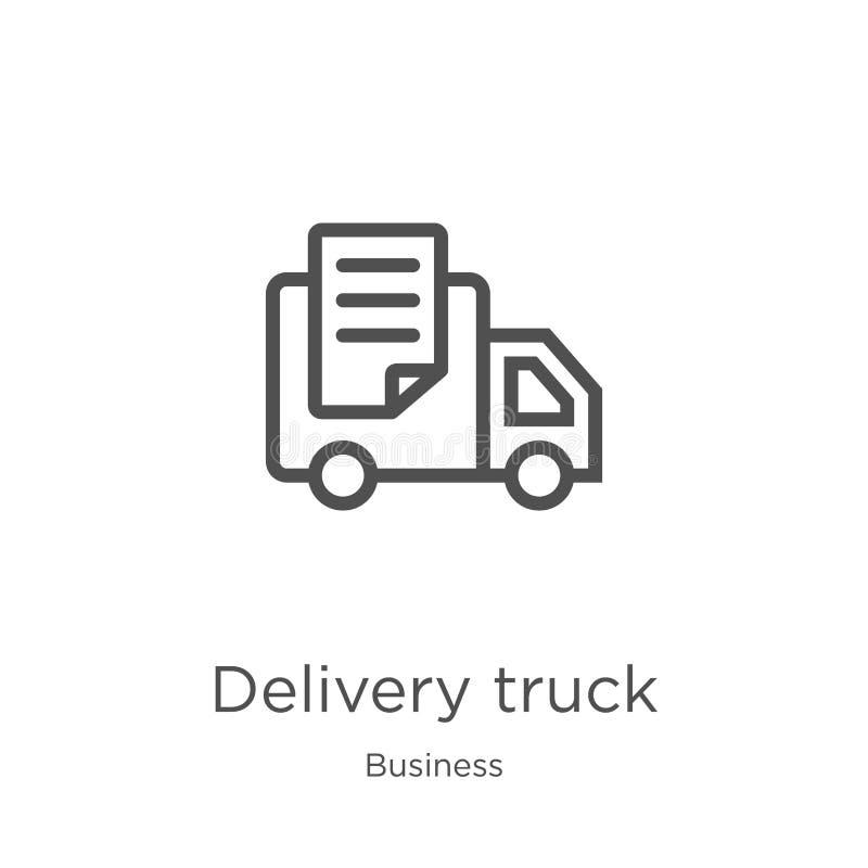 het pictogramvector van de leveringsvrachtwagen van bedrijfsinzameling Dunne van het de vrachtwagenoverzicht van de lijnlevering  royalty-vrije illustratie