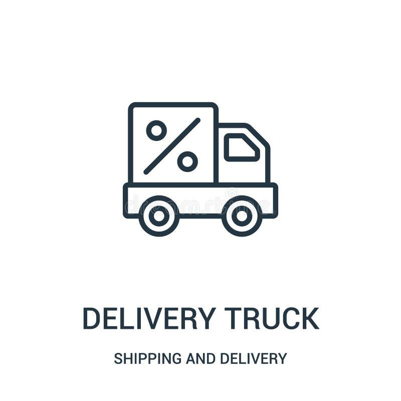 het pictogramvector van de leveringsvrachtwagen van het verschepen en leveringsinzameling Dunne van het de vrachtwagenoverzicht v vector illustratie