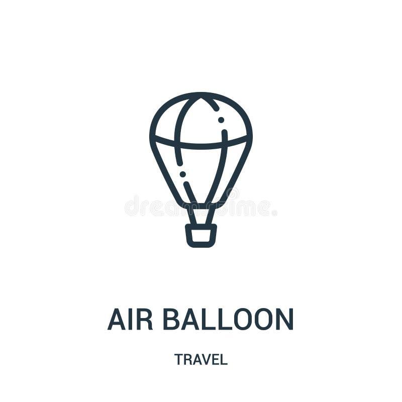 het pictogramvector van de luchtballon van reisinzameling Dunne van het de ballonoverzicht van de lijnlucht het pictogram vectori royalty-vrije illustratie