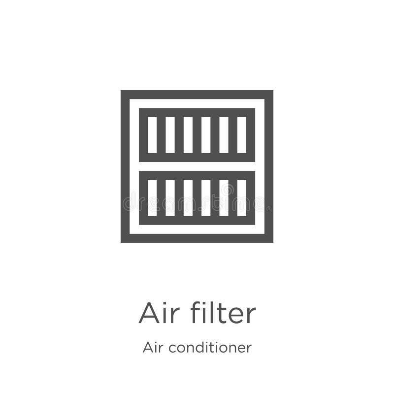 het pictogramvector van de luchtfilter van airconditionerinzameling Dunne van het de filteroverzicht van de lijnlucht het pictogr stock illustratie