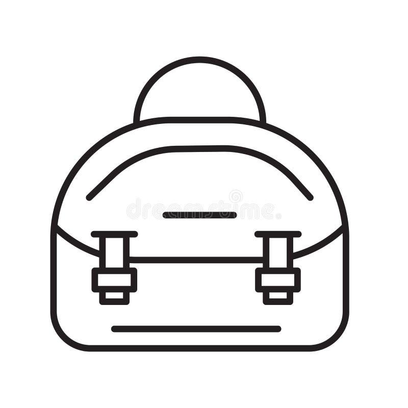 Het pictogramvector van de manierzak op witte achtergrond, het teken van de Manierzak, de dunne elementen van het lijnontwerp in  stock illustratie