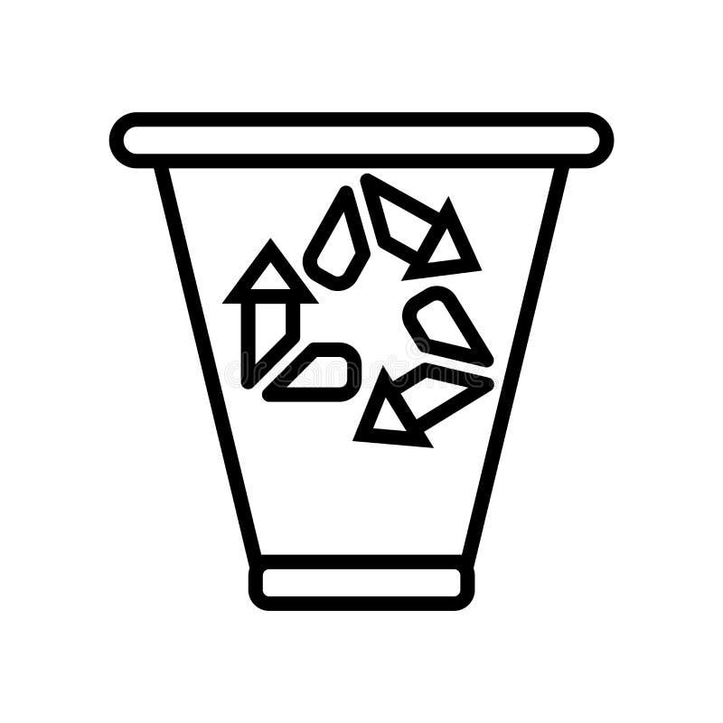 Het pictogramvector van de recyclingsbak op witte achtergrond, het teken van de Recyclingsbak, lijn of lineair teken, elementenon royalty-vrije illustratie