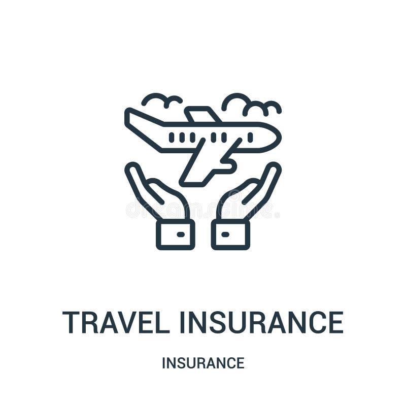 het pictogramvector van de reisverzekering van verzekeringsinzameling Dunne van het de verzekeringsoverzicht van de lijnreis het  royalty-vrije illustratie