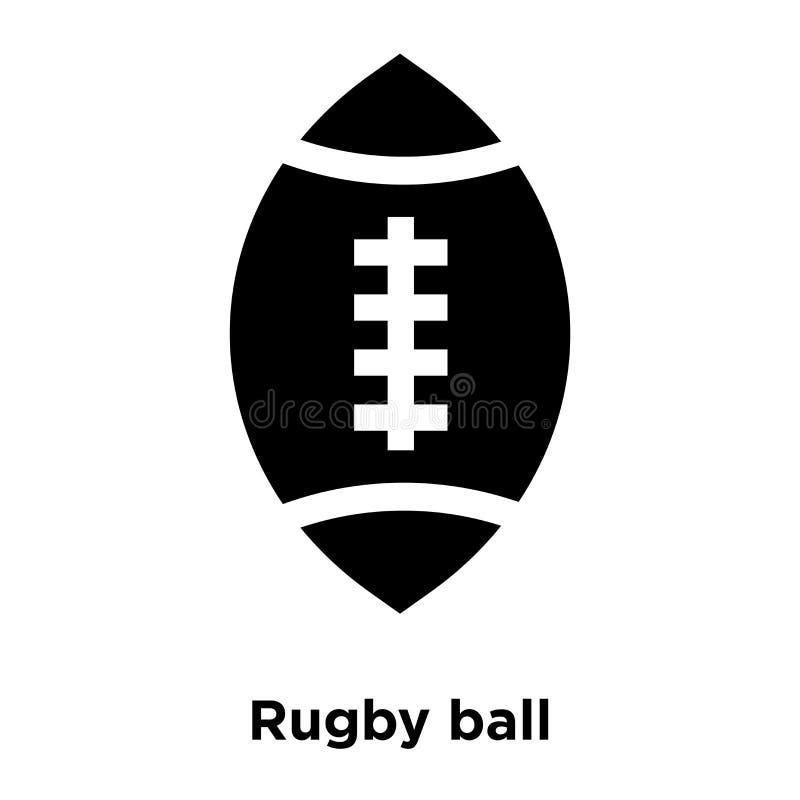 Het pictogramvector van de rugbybal op witte achtergrond, embleem wordt geïsoleerd dat concep royalty-vrije illustratie