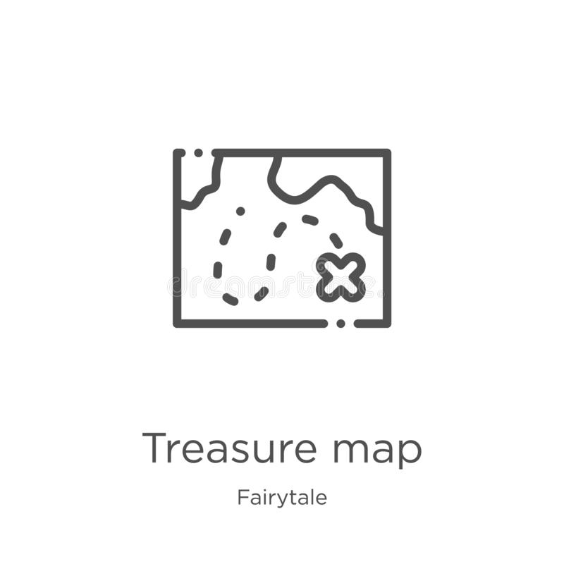 het pictogramvector van de schatkaart van fairytaleinzameling Dunne van het de kaartoverzicht van de lijnschat het pictogram vect stock illustratie
