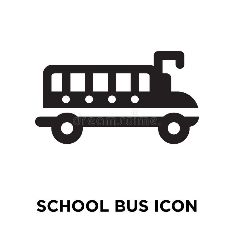 Het pictogramvector van de schoolbus op witte achtergrond, embleem wordt geïsoleerd dat concep vector illustratie