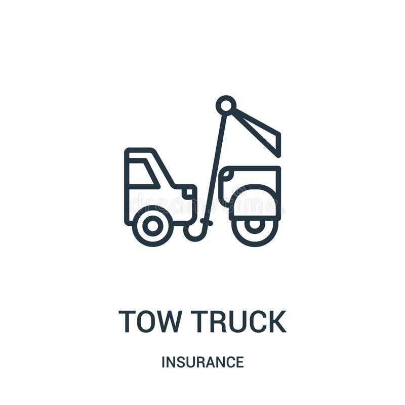 het pictogramvector van de slepenvrachtwagen van verzekeringsinzameling Dunne van het de vrachtwagenoverzicht van het lijnslepen  royalty-vrije illustratie