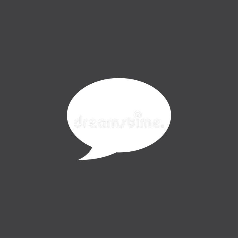 Het pictogramvector van de toespraakbel op zwarte wordt geïsoleerd die royalty-vrije illustratie