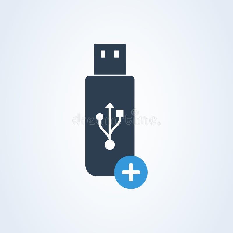 Het pictogramvector van de Usbstok plus en voeg flashmemory toe stock illustratie