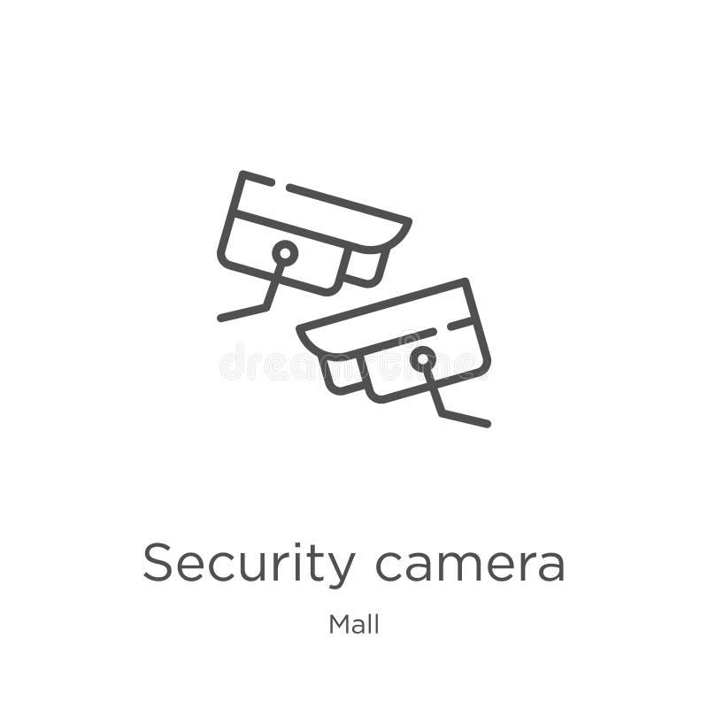 het pictogramvector van de veiligheidscamera van wandelgalerijinzameling Dunne van het de cameraoverzicht van de lijnveiligheid h royalty-vrije illustratie