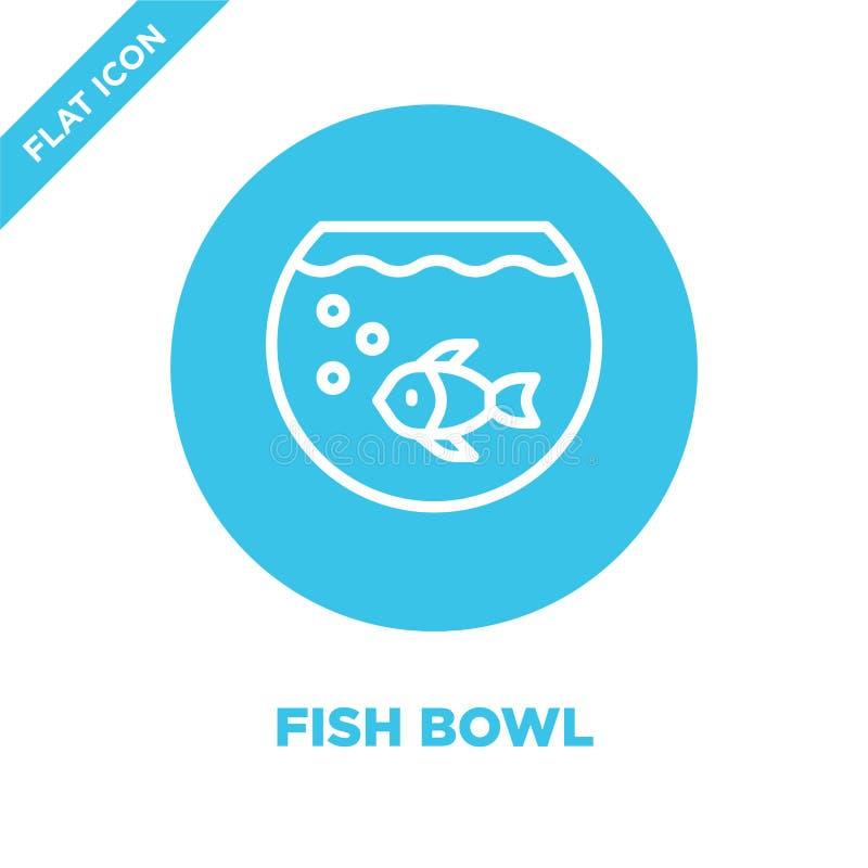 het pictogramvector van de vissenkom van furnituresinzameling Dunne van het de komoverzicht van lijnvissen het pictogram vectoril stock illustratie