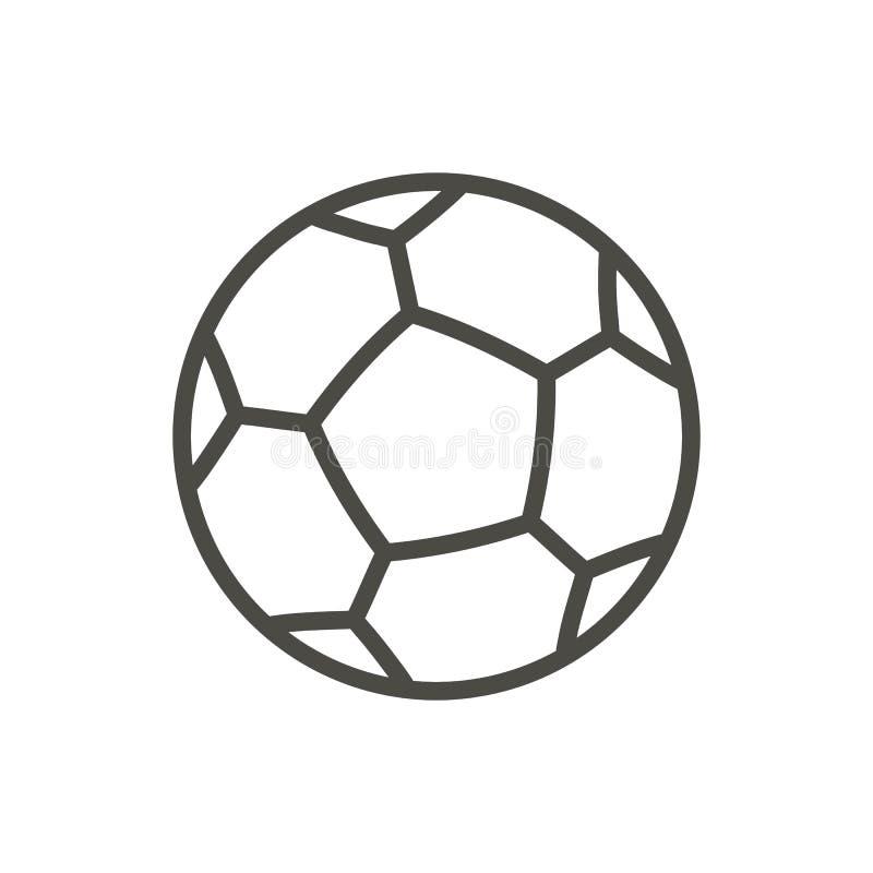 Het pictogramvector van de voetbalbal Het symbool van de lijnvoetbal stock illustratie