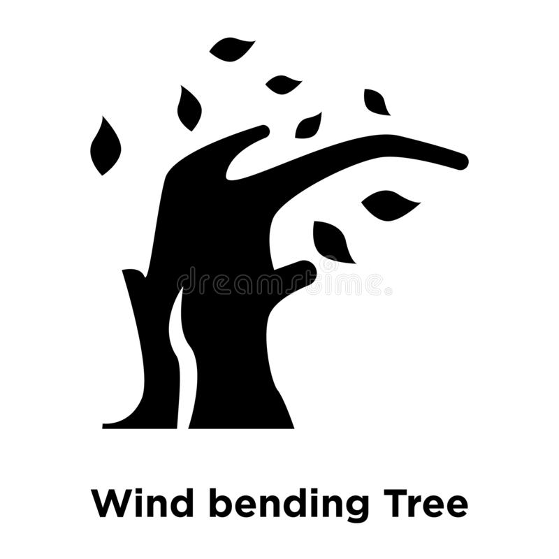 Het pictogramvector van de wind buigende die Boom op witte achtergrond, embleem wordt geïsoleerd vector illustratie