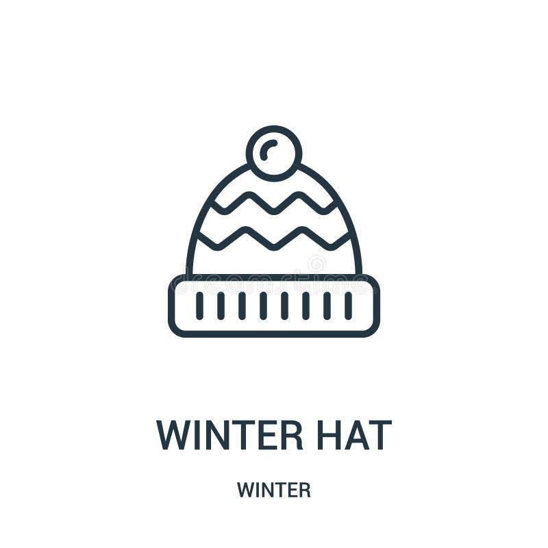 het pictogramvector van de de winterhoed van de winterinzameling Dunne van het de hoedenoverzicht van de lijnwinter het pictogram royalty-vrije illustratie