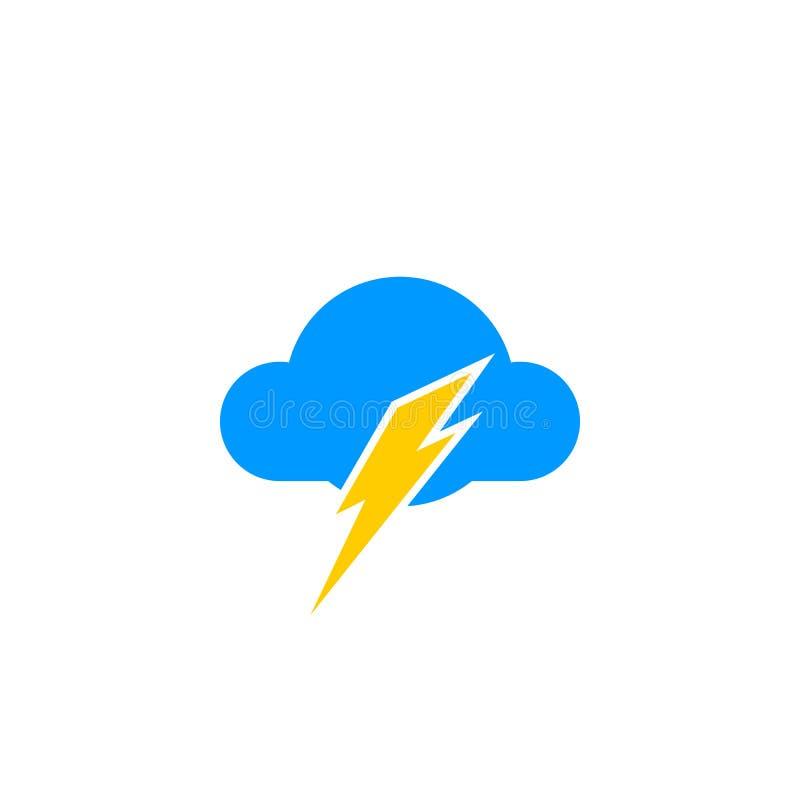 Het pictogramvector van de wolkenbliksem stock illustratie