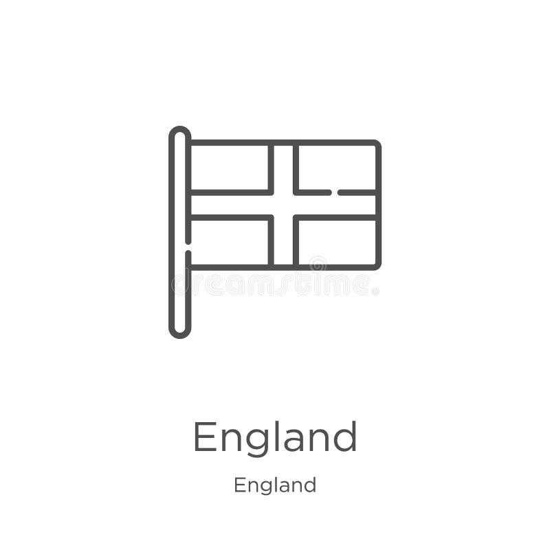 het pictogramvector van Engeland van de inzameling van Engeland De dunne van het het overzichtspictogram van lijnengeland vectori vector illustratie