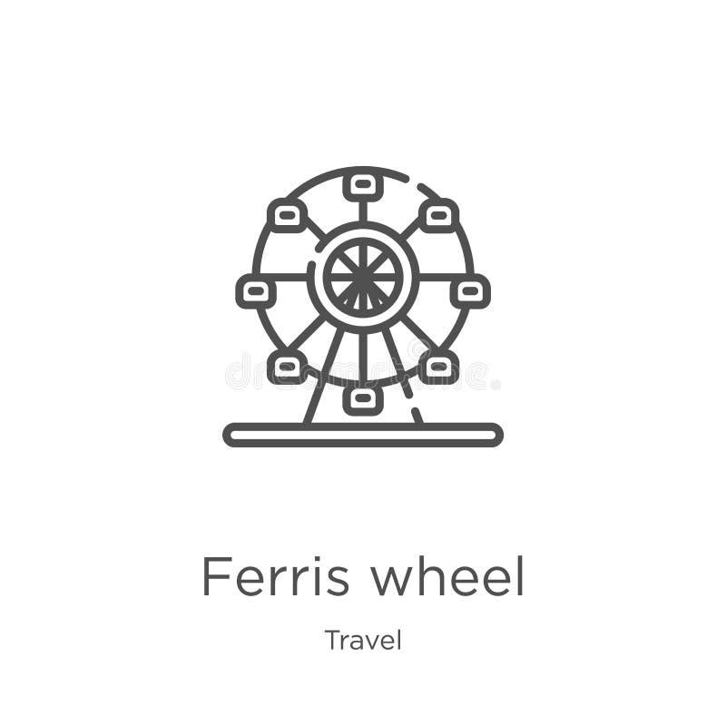 het pictogramvector van het ferriswiel van reisinzameling Dunne van het het wieloverzicht van lijnferris het pictogram vectorillu royalty-vrije illustratie
