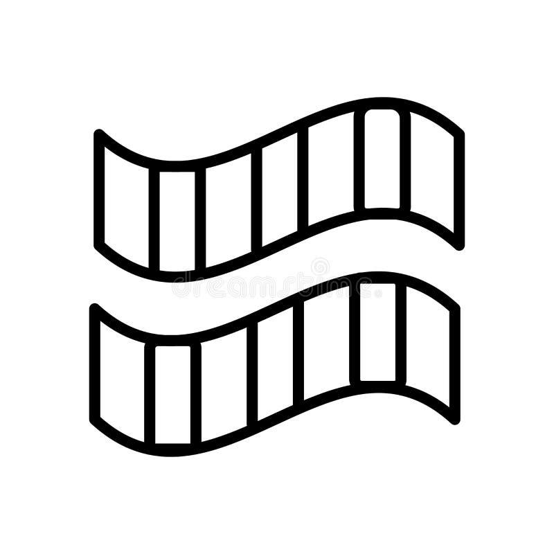 Het pictogramvector van het filmbroodje op witte achtergrond, het teken van het Filmbroodje, lijn en overzichtselementen in linea stock illustratie