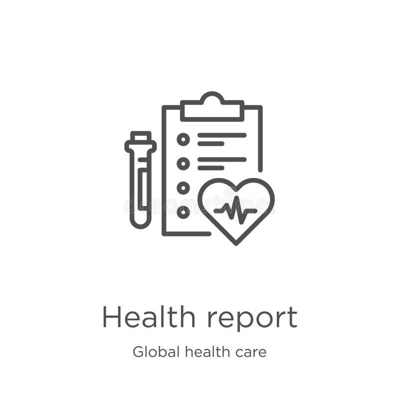 het pictogramvector van het gezondheidsrapport van globale gezondheidszorginzameling Dunne van het het rapportoverzicht van de li stock illustratie