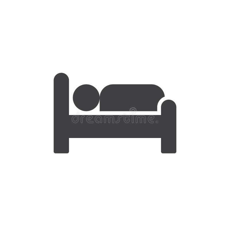 Het pictogramvector van het hotelbed royalty-vrije illustratie