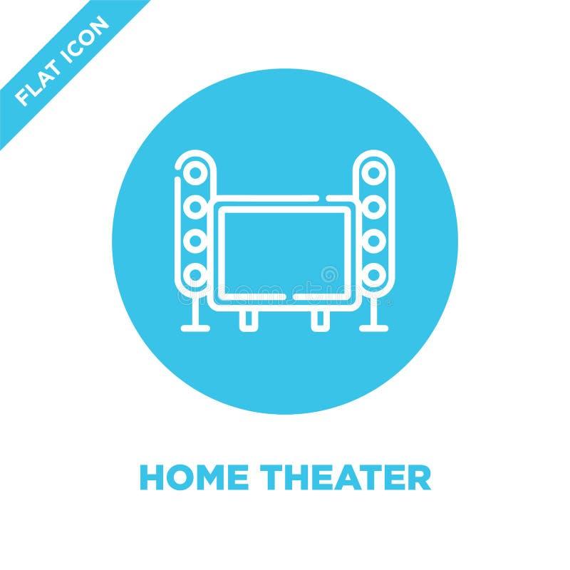 het pictogramvector van het huistheater van slimme huisinzameling Dunne van het het theateroverzicht van het lijnhuis het pictogr stock illustratie