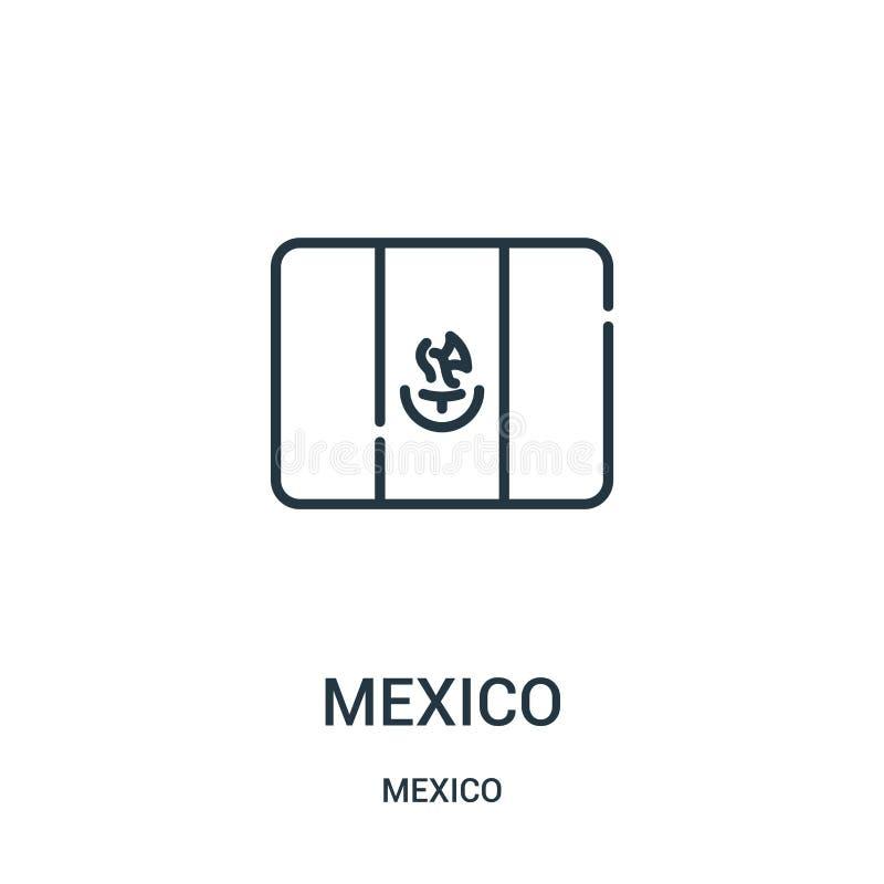 het pictogramvector van Mexico van de inzameling van Mexico De dunne van het het overzichtspictogram van lijnmexico vectorillustr royalty-vrije illustratie