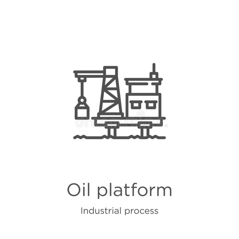 het pictogramvector van het olieplatform van industrieel procesinzameling Dunne van het het platformoverzicht van de lijnolie het stock illustratie