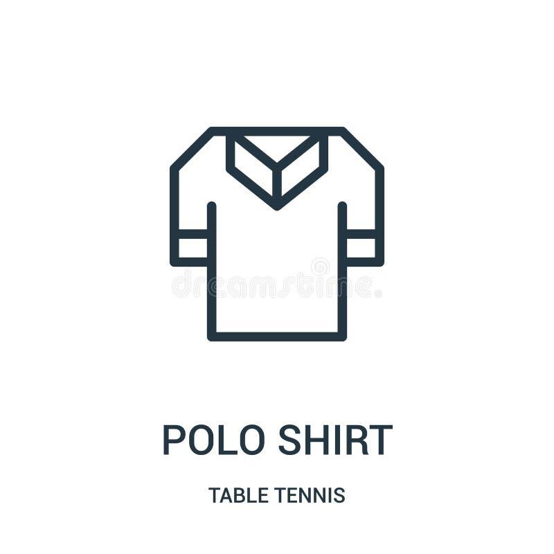 het pictogramvector van het polooverhemd van pingponginzameling Dunne van het het overhemdsoverzicht van het lijnpolo het pictogr stock illustratie
