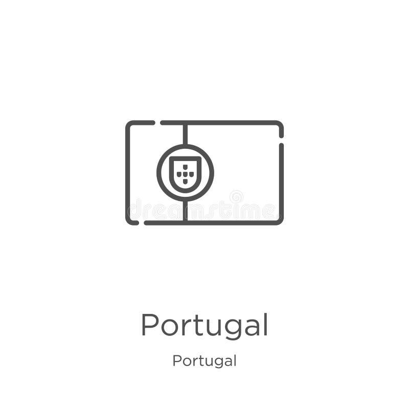 het pictogramvector van Portugal van de inzameling van Portugal De dunne van het het overzichtspictogram van lijnportugal vectori vector illustratie