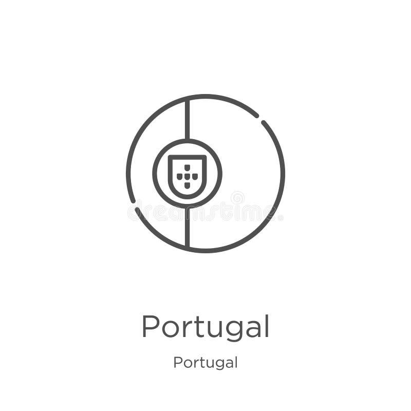 het pictogramvector van Portugal van de inzameling van Portugal De dunne van het het overzichtspictogram van lijnportugal vectori royalty-vrije illustratie