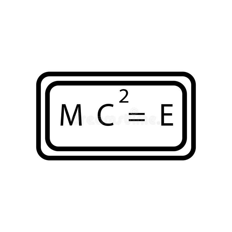 Het pictogramvector van relativiteitsformules op witte achtergrond, het teken van Relativiteitsformules, de lineaire symbool en e royalty-vrije illustratie
