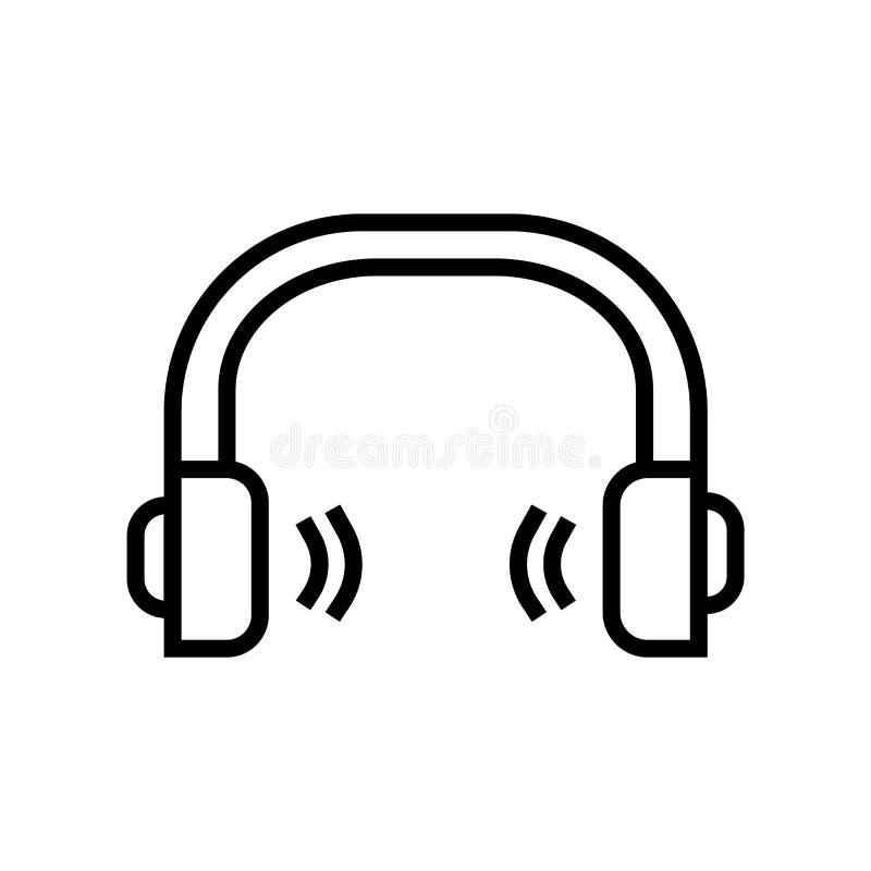 Het pictogramvector van schoolhoofdtelefoons op witte achtergrond, het teken van Schoolhoofdtelefoons, de lineaire symbool en ele vector illustratie