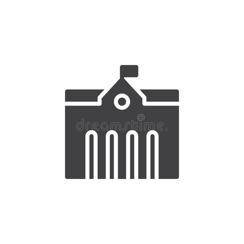 Het pictogramvector van het stadsstadhuis vector illustratie