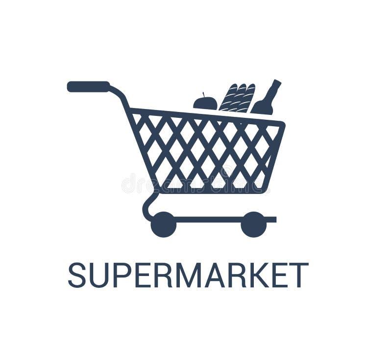 Het pictogramvector van het supermarktboodschappenwagentje in in die ontwerpstijl op witte achtergrond wordt geïsoleerd vector illustratie