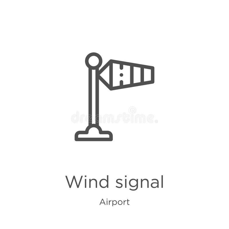 het pictogramvector van het windsignaal van luchthaveninzameling Dunne van het het signaaloverzicht van de lijnwind het pictogram royalty-vrije illustratie