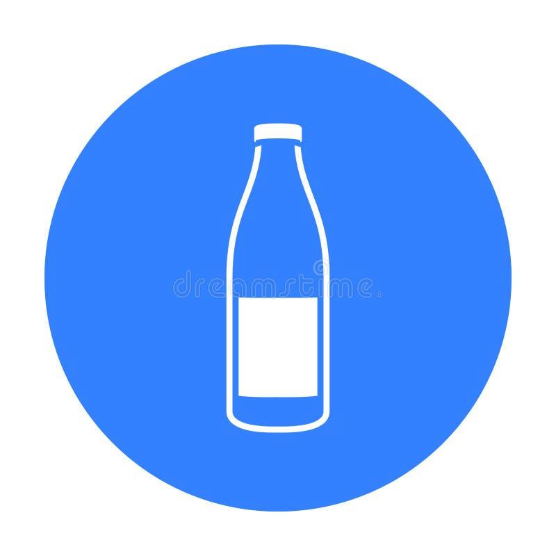 Het pictogramzwarte van de flessenmelk Enige bio, eco, biologisch productpictogram van de grote melkzwarte royalty-vrije illustratie