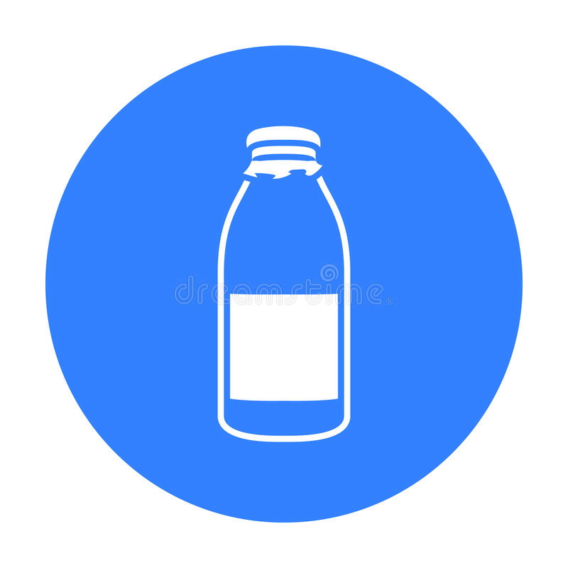 Het pictogramzwarte van de flessenmelk Enige bio, eco, biologisch productpictogram van de grote melkzwarte stock illustratie