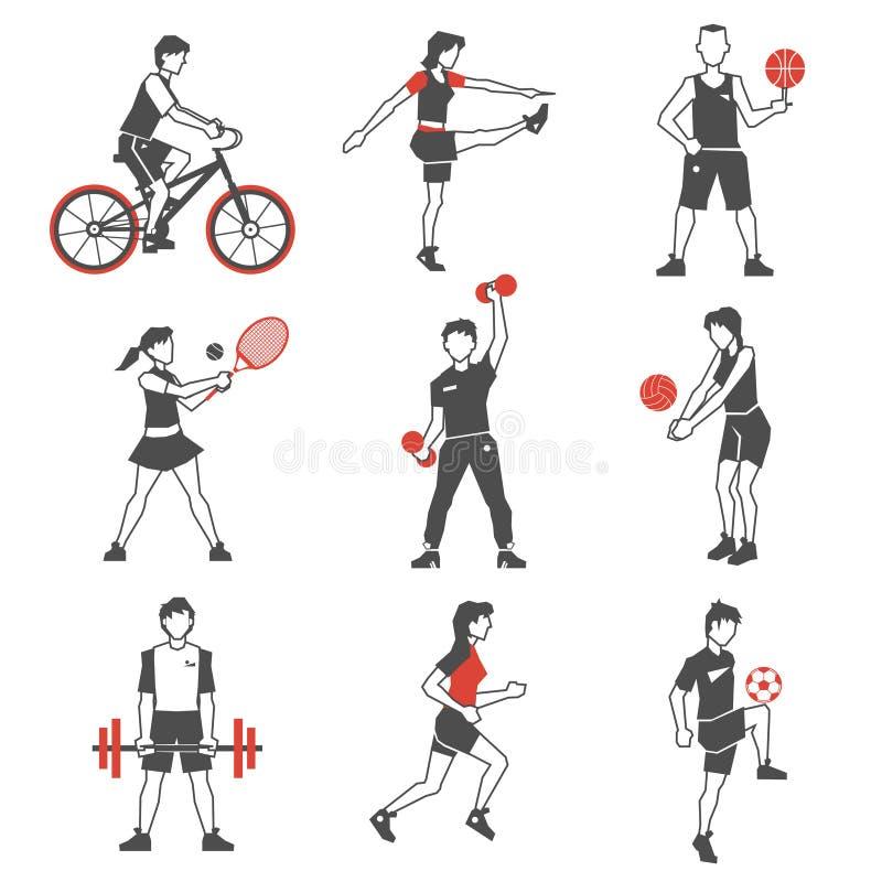 Het Pictogramzwarte van sportmensen royalty-vrije illustratie