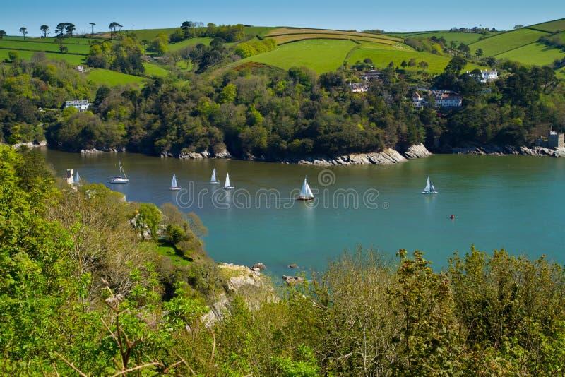 Het pijltje van de Rivier dichtbij Dartmouth en de kust van Devon stock afbeelding
