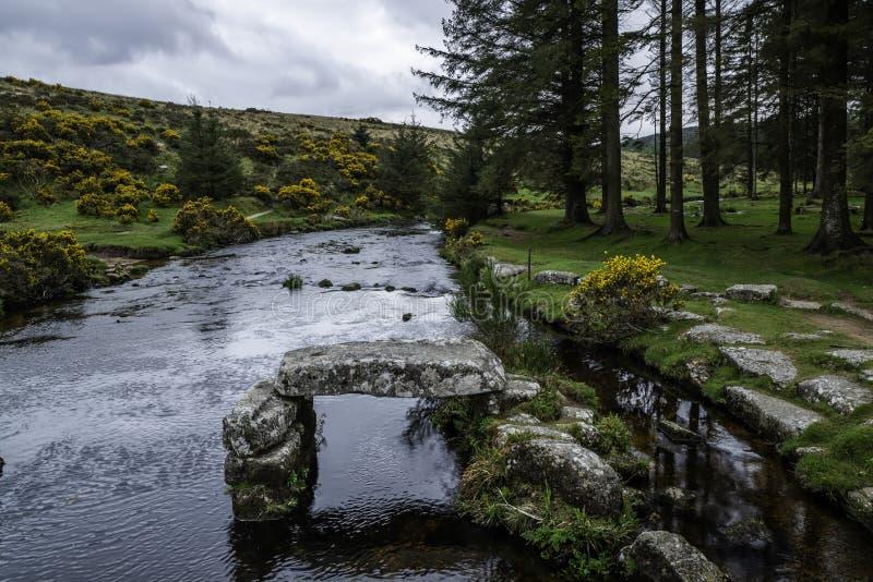 Het Pijltjerivier van het oosten in het Nationale Park van Dartmoor in Devon County in Engeland stock afbeelding