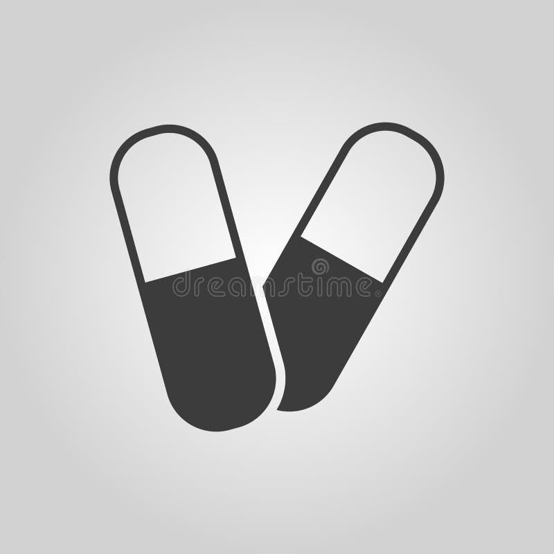 Het pillenpictogram Tablet en antibiotisch, vitaminensymbool vlak royalty-vrije illustratie
