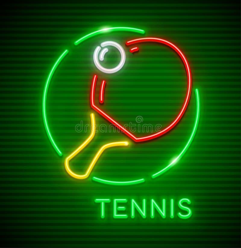 Het pingpong van het neonpictogram met racket en bal stock illustratie