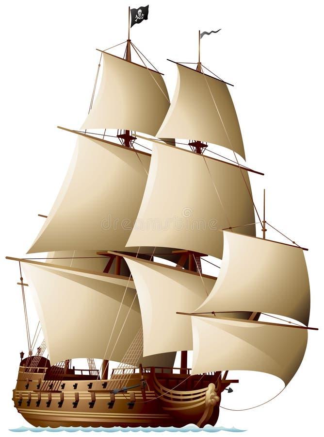 Het piraatschip loopt met de wind mee royalty-vrije illustratie
