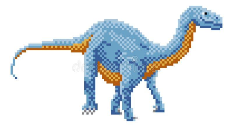 Het Pixel Art Arcade Game Cartoon van dinosaurusdiplodocus stock illustratie