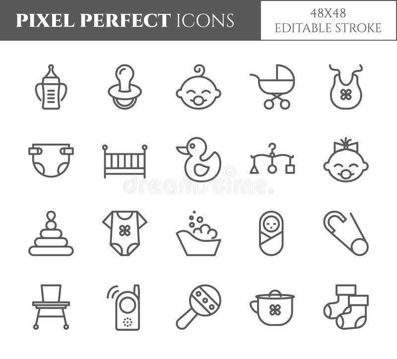 Het pixel perfecte 48X48 pictogrammen van het babythema vector illustratie