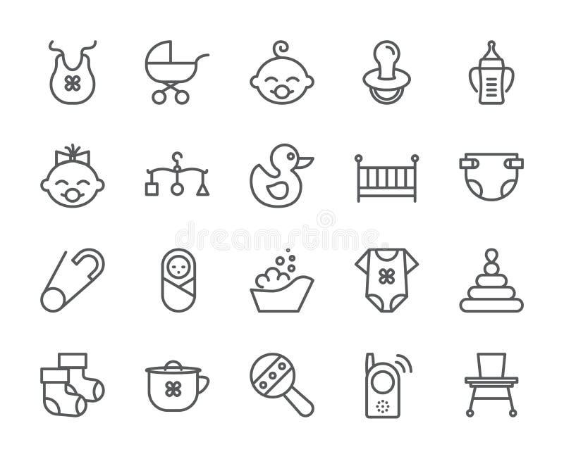 Het pixel perfecte 48X48 pictogrammen van het babythema Pictogrammen van baby, kinderwagen, mobiele voederbak, speelgoed, rammela vector illustratie