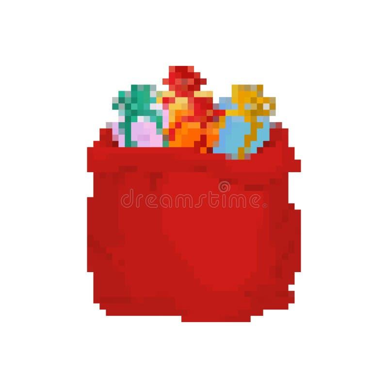 Het pixelart. van de zakkerstman Grote Rode feestelijke vakantiezak met 8 bits Vele giften voor jonge geitjes de Oude school van  vector illustratie