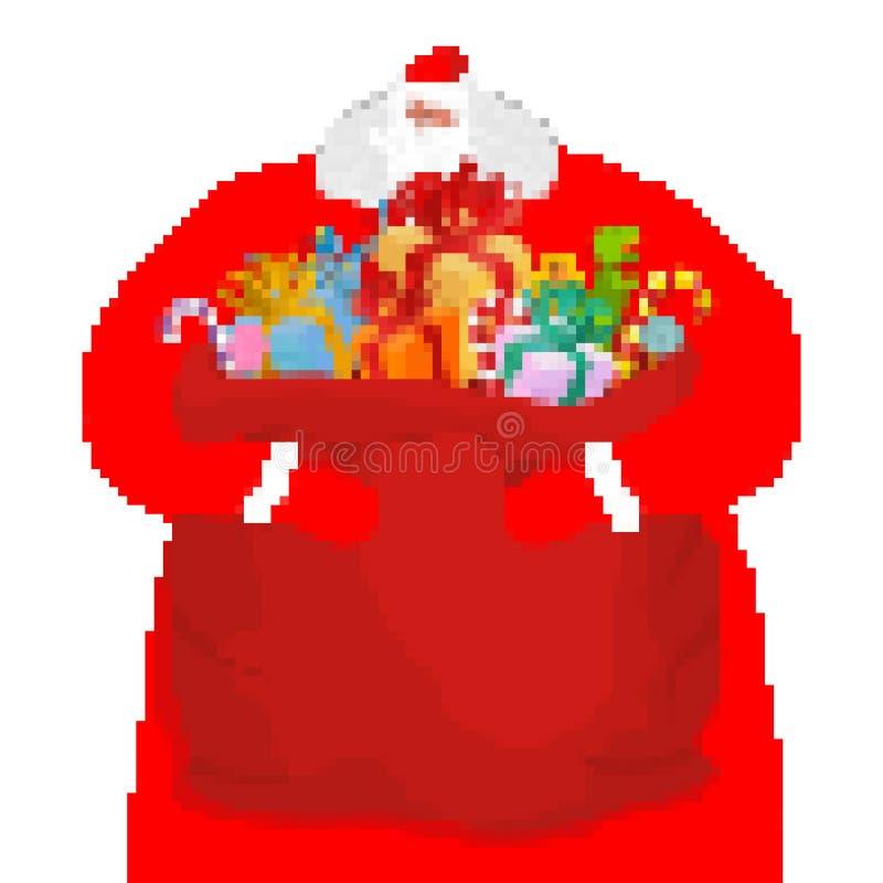 Het pixelart. van Santa Claus en van de zak Nieuwjaar grote rode zak met giften Kerstmis met 8 bits Vrolijke Kerstmis van de vide vector illustratie