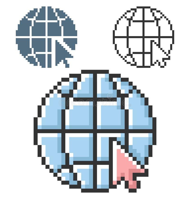 Het pixelpictogram van bol met wijzerpijl gaat naar Web in drie varianten stock illustratie